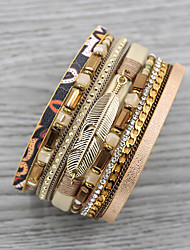 cheap -Women's Charm Bracelet Bead Bracelet Wrap Bracelet Layered Vintage Theme Basic Vintage European Sweet Folk Style Rhinestone Bracelet Jewelry Red / khaki / Silver For Daily Date Eid al-Fitr Theme