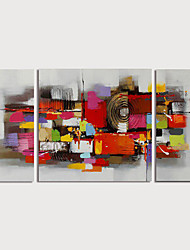 cheap -Hand Painted Canvas Oilpainting Abstract Set of 3 by Knife Home Decoration with Frame Painting Ready to Hang