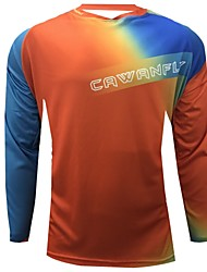 cheap -CAWANFLY Men's Long Sleeve Cycling Jersey Downhill Jersey Dirt Bike Jersey Winter Polyester Black Patchwork Gradient Novelty Bike Jersey Top Mountain Bike MTB Breathable Quick Dry Sweat-wicking Sports