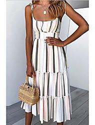 cheap -Women's White Dress Sheath Striped Strap S M