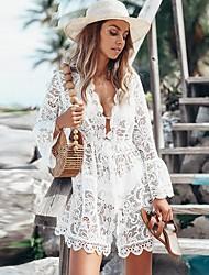 cheap -Women's White Dress A Line Solid Color V Neck S M