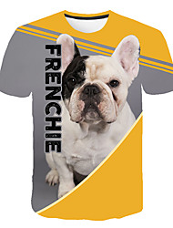 cheap -Men's Daily Going out Basic T-shirt - 3D / Graphic / Animal Dog, Print Gray