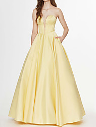 cheap -Ball Gown Elegant Yellow Engagement Prom Dress Strapless Sleeveless Floor Length Satin with Bow(s) 2020