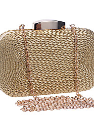 cheap -Women's Chain Polyester / Straw Evening Bag Wedding Bags Solid Color Black / Blue / Gold / Straw Bag / Fall & Winter