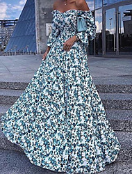 cheap -Women's Vacation Holiday Beach Maxi Dress Maxi Swing Dress - Floral Print Off Shoulder Spring & Summer Light Blue S M L XL