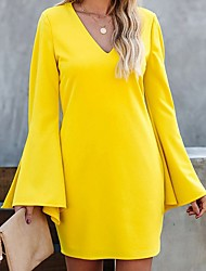 cheap -Women's Yellow Black Dress A Line Solid Color V Neck S M