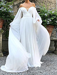 cheap -A-Line Off Shoulder Sweep / Brush Train Chiffon Long Sleeve Country Plus Size Wedding Dresses with Draping 2020