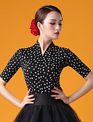 cheap -Ballroom Dance Top Pattern / Print Ruching Women's Performance Half Sleeve Ice Silk