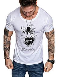 cheap -Men's Daily Sports Business / Basic T-shirt - Abstract / Portrait Black & White, Print White