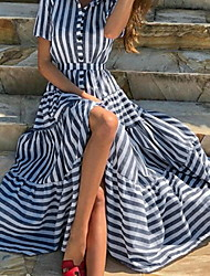 cheap -Women's Swing Dress - Striped Blue S M L XL