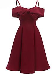 cheap -Women's Wine Black Dress A Line Solid Color Strap S M