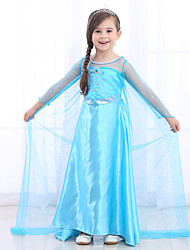 cheap -Elsa Cosplay Costume Flower Girl Dress Kid's Girls' A-Line Slip Dresses Mesh Christmas Halloween Carnival Festival / Holiday Silk Organza Blue Carnival Costumes Sequin / Cotton