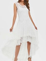 cheap -Women's Asymmetrical White Black Dress A Line Solid Color S M