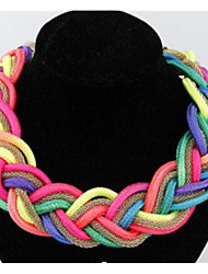 cheap -Women's Necklace Braided Flower Fashion Chrome Champagne Gray Rainbow 45 cm Necklace Jewelry 1pc For Party Evening Festival