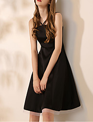 cheap -A-Line Spaghetti Strap Short / Mini Satin / Tulle Pink / Black Graduation / Cocktail Party Dress with Pleats 2020