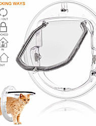 cheap -Transparent Cat Dog Small Animal Pet Door Interior 4-Way Locking Silent Action Save Energy Flap Door Magnetic Design for Dogs and Cats