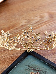 cheap -Women's Tiaras For Wedding Party Evening Prom Festival Byzantine Alloy Golden 1pc