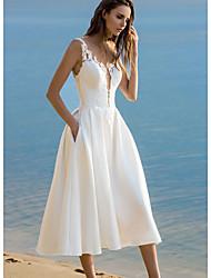 cheap -Women's White Dress A Line Solid Color Strap S M