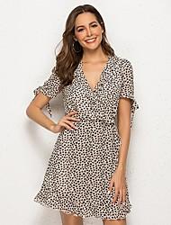 cheap -Women's Light Brown Dress A Line Leopard V Neck S M