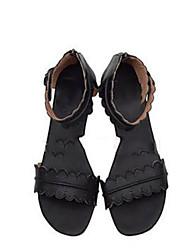 cheap -Women's Sandals Wedge Heel Round Toe PU Summer Black / Brown / White