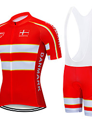cheap -21Grams Men's Short Sleeve Cycling Jersey with Bib Shorts Spandex Polyester Red Denmark National Flag Bike Clothing Suit UV Resistant Breathable 3D Pad Quick Dry Sweat-wicking Sports Letter & Number