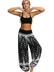 cheap -Women's Basic Bloomers Pants - Print Black White Blue S M L