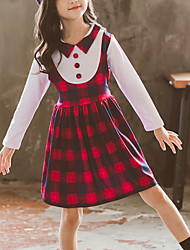 cheap -Kids Girls' Cute Red Color Block Check Lace up Patchwork Long Sleeve Above Knee Dress Purple