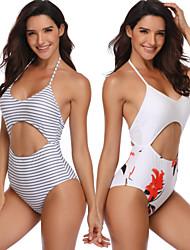 cheap -Women's Beach Girl Vintage 1980s Bikini Peplum Swimsuit Monokini Spandex Tactel Striped Patchwork White Ivory Leotard / Onesie