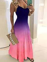 cheap -Women's Swing Dress - Color Block Maxi Black Purple Blue S M L XL