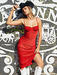 cheap -Women's Orange Black Dress Vintage Style Sexy Going out Little Black Solid Color Strap Backless Cut Out Pleated S M Slim