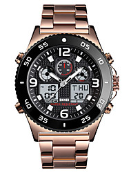 cheap -SKMEI Men's Sport Watch Quartz Modern Style Sporty Outdoor Calendar / date / day Analog - Digital Black Gold Silver / One Year / Stainless Steel / Chronograph / Three Time Zones / Stopwatch