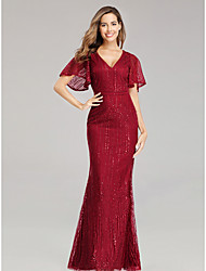 cheap -Mermaid / Trumpet V Neck Floor Length Tulle / Sequined Hot / Red Prom / Formal Evening Dress with Sequin 2020