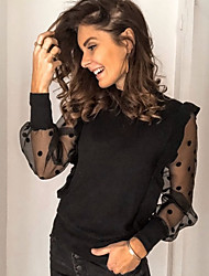 cheap -Women's Solid Colored Mesh Polka Dots T-shirt Daily Black
