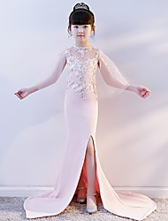 cheap -Mermaid / Trumpet Chapel Train Wedding / Party Pageant Dresses - Tulle / Spun Rayon Half Sleeve Illusion Neck with Lace / Split Front