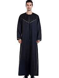 cheap -Men's Daily Fall & Winter Long Trench Coat, Solid Colored Round Neck Long Sleeve Polyester Black / White / Beige