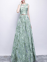 cheap -A-Line Minimalist Spring Prom Formal Evening Dress Jewel Neck Sleeveless Floor Length Polyester with Sash / Ribbon Appliques 2020