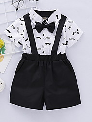 cheap -Baby Boys' Street chic Print Short Sleeve Regular Clothing Set White / Toddler