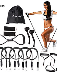 cheap -KYLINSPORT Resistance Band Set 15 pcs 5 Stackable Exercise Bands Door Anchor Legs Ankle Straps Sports Latex Home Workout Yoga Pilates Heavy-duty Carabiner Strength Training Muscular Bodyweight