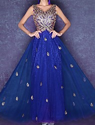 cheap -A-Line V Neck Ankle Length Tulle Hot / Red Prom / Formal Evening Dress with Sequin / Appliques 2020