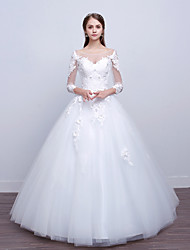 cheap -Ball Gown Scoop Neck Floor Length Polyester / Lace / Tulle Long Sleeve Romantic / Sexy Illusion Sleeve Wedding Dresses with Lace / Appliques 2020