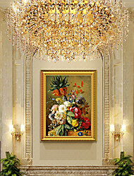 cheap -Framed Art Print American Style Restaurant Wine Cabinet Decorative Painting Atmosphere Flowers European Painting Realistic Vase Hanging Painting