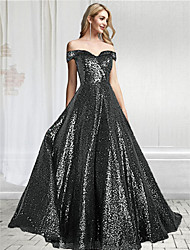 cheap -A-Line Off Shoulder Floor Length Sequined Sparkle / Black Prom / Formal Evening Dress with Sequin 2020