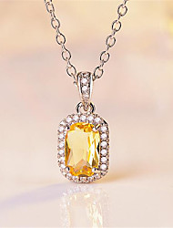 cheap -Women's Pendant Necklace Charm Necklace Precious Fashion Zircon Copper Silver Plated White Purple Yellow Blushing Pink Blue 45 cm Necklace Jewelry 1pc For Wedding Party Evening Formal Festival