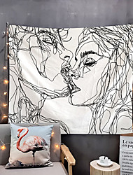 cheap -Valentine's Day Sketch Wall Tapestry Art Decor Blanket Curtain Hanging Home Bedroom Living Room Decoration Kiss Lover