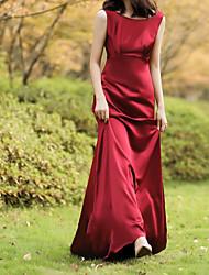 cheap -Sheath / Column Jewel Neck Sweep / Brush Train Chiffon Over Satin Sleeveless Beach Red Wedding Dresses with Draping 2020