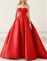cheap -Ball Gown Sweetheart Neckline Floor Length Satin Sexy / Red Prom / Formal Evening Dress with Sleek / Pleats 2020