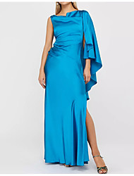 cheap -Sheath / Column One Shoulder Floor Length Polyester Sexy / Blue Formal Evening / Wedding Guest Dress with Draping / Split 2020