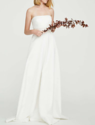 cheap -Sheath / Column Strapless Floor Length Polyester Strapless Casual Plus Size Wedding Dresses with Draping 2020