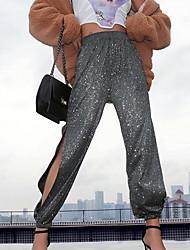 cheap -Women's Sporty Chinos Pants - Print White Black Gray S M L