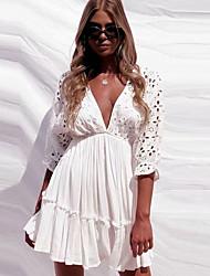 cheap -Women's Sheath Dress - Solid Color Wine White Black XS S M L